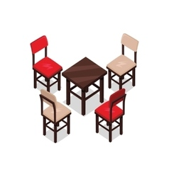Chair and Table Isometric Design vector image vector image