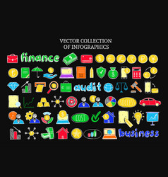 colorful infographic financial sketch icons set vector image