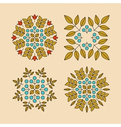 Set Floral Elements Linear Style Line Art vector image vector image