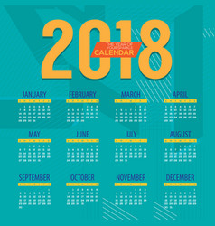 2018 modern colorful graphic printable calendar vector