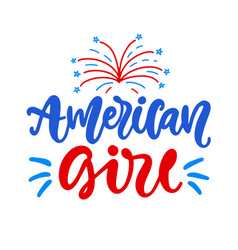 american girl fourth july ink lettering vector image