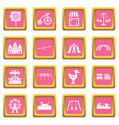 amusement park icons pink vector image