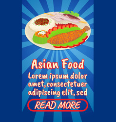 Asian food concept banner comics isometric style vector