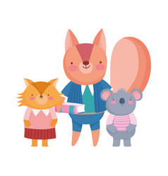 back to school squirrel koala and fox students vector image