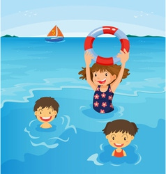 Beach kids vector