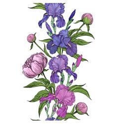 beautiful flowers iris and peony seamless vector image