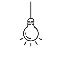 black hanging thin line bulb vector image