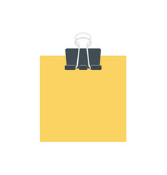 Blank yellow paper held by clip vector