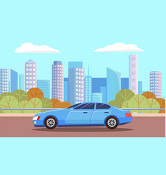blue car sedan on urban road landscape city vector image