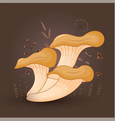 Card with mushrooms oyster on a floral background vector
