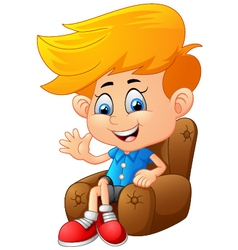 Cartoon boy sitting vector image