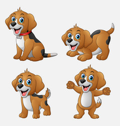 cartoon funny dogs collection set vector image