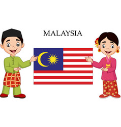 Cartoon malaysia couple wearing traditional costum vector