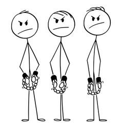 Cartoon three angry rough men or gang vector