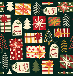 Christmas gift boxes trees and tags seamless vector