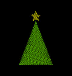 Christmas tree green scribble with star design vector