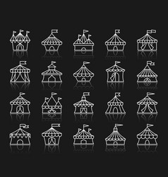 Circus tent simple white line icons set vector