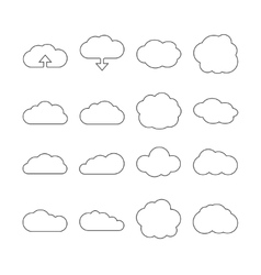 Cloud line web icons for cloud computing vector