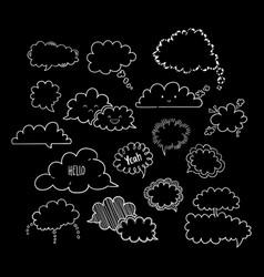 Cloud speech bubbles-02 vector