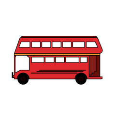 Colorful silhouette red two floor bus transport vector