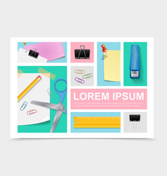 colorful stationery collection vector image