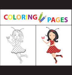 coloring book page for kids ladybug sketch vector image
