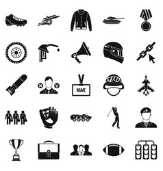 conquest icons set simple style vector image