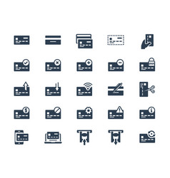 Credit or debit card related icon set vector