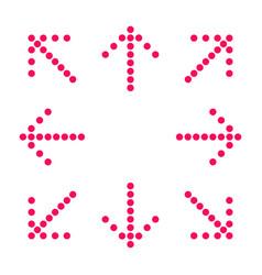 crimson arrows in 8eight directions vector image