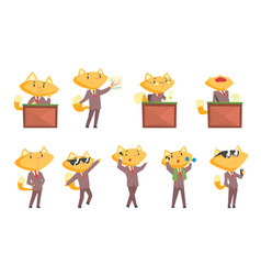 cute businessman fox character at work and rest vector image