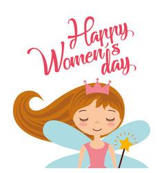 cute cartoon girl fairy card for womens day vector image