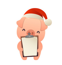 cute pig holds in his hands blank isolated vector image