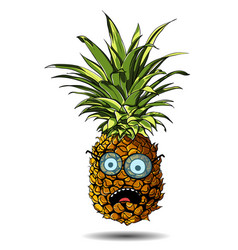 cute pineapple cartoon character emotion surprise vector image