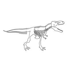 dinosaur skeleton t rex icon black color flat vector image