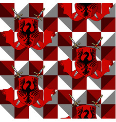 elegant heraldic shield with swords ribbon on red vector image
