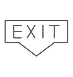 exit thin line icon emergency and doorway vector image