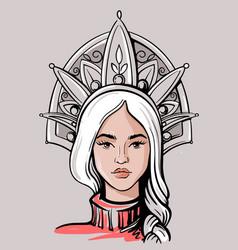 face beautiful russian girl avatar vector image