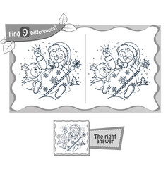 Find 9 differences game santa claus baby vector
