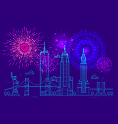 fireworks over new york line new york vector image