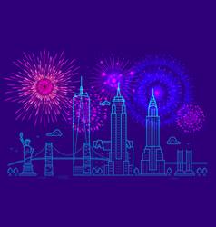fireworks over new york line new york vector image