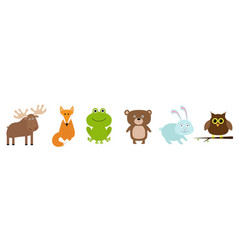 Forest animal set line bear hare rabbit fox moose vector