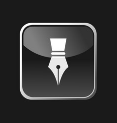 Fountain pen icon on square grey button vector