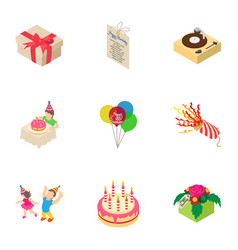 Gift day icons set isometric style vector