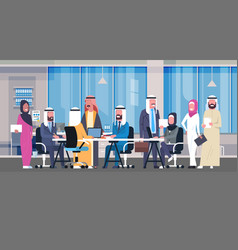 group of arabic business people working together vector image