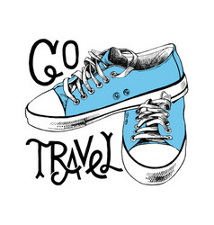 Hand drawn blue sneakers with lettering vector