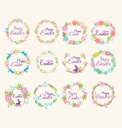 Happy easter logo quote text flower branch and vector