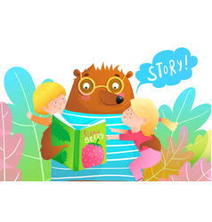 happy kids and teddy bear reading a story from vector image