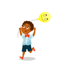 happy little boy with balloon in the shape of vector image