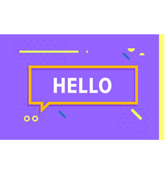 hello in design banner template for web vector image