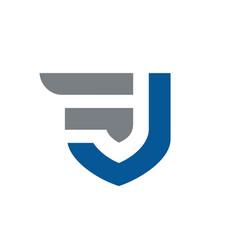 initial letters fj or jf logo design vector image